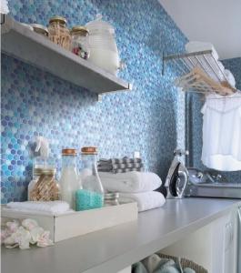 Renovační obklady stěn mozaika modrá