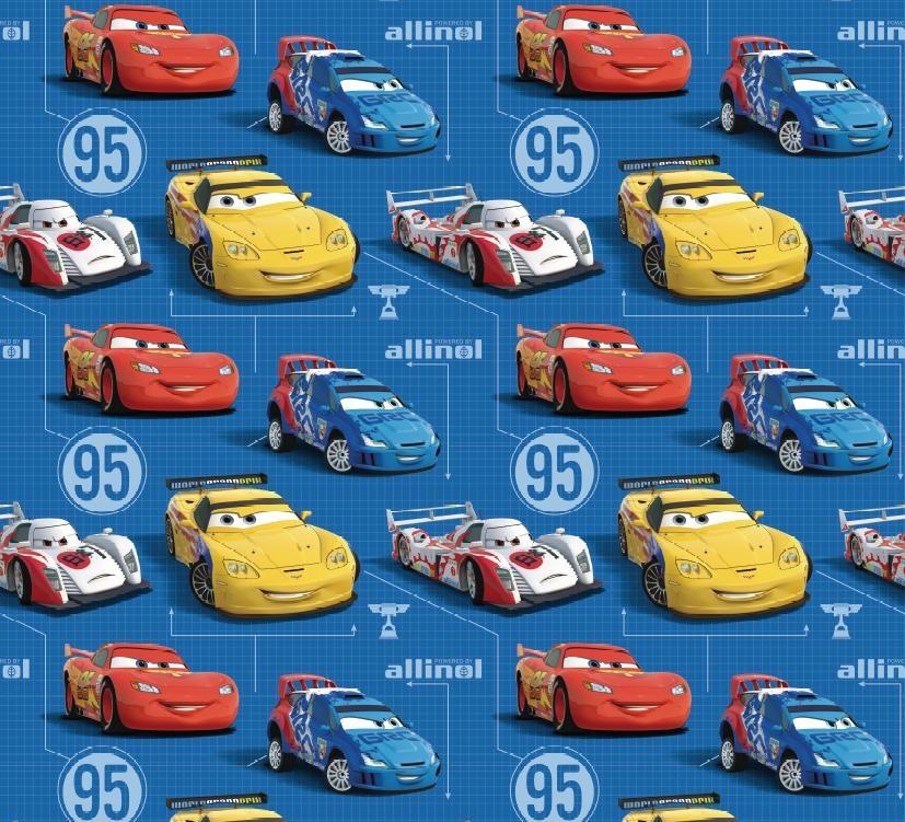 Dětská Tapeta Auta Cars V Modré Barvě Tapety Do Dětského Pokoje