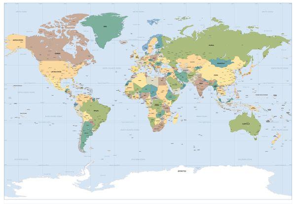 Fototapety mapa světa