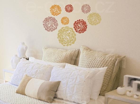 Samolepící dekorace na zeď květinové kruhy