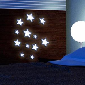 Pěnové samolepící svítící dekorace hvězdy 3D