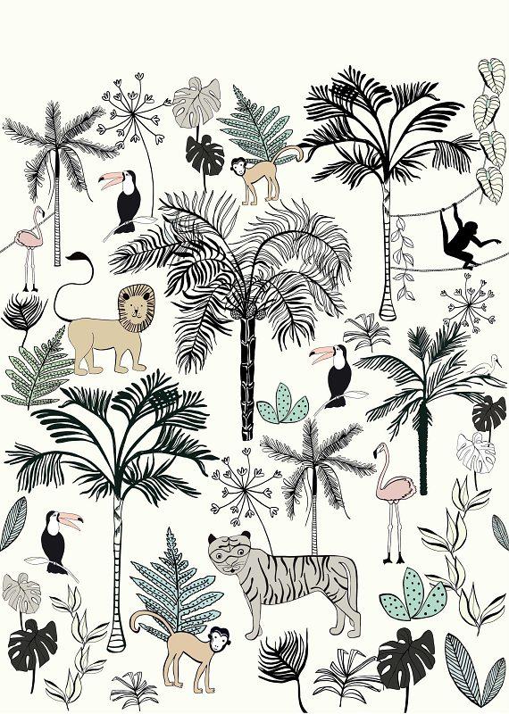 Dětská fototapeta Bambino XVIII Zvířátka v džungli bílá