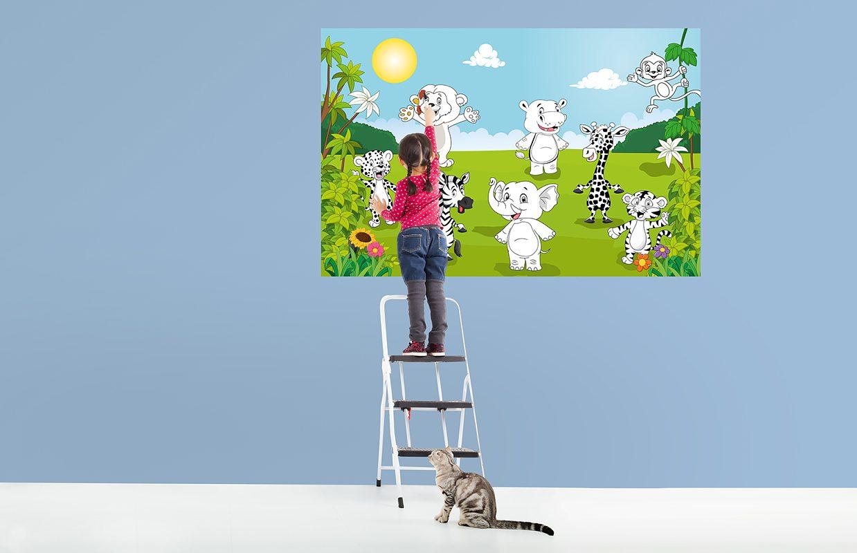 Dětská fototapeta omalovánky Veselá zvířátka