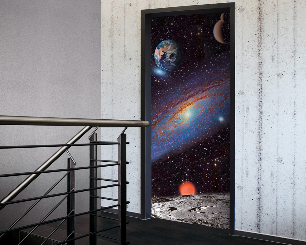 Fólie na renovaci dveří Vesmír