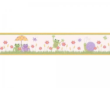 Samolepící dětské bordury Louka - šneci, veselé žáby