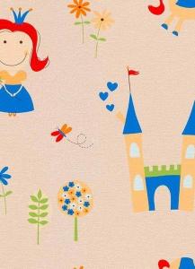 Dětské papírové tapety Lotta princezny modrá