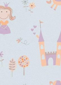Dětské papírové tapety Lotta princezny fialová
