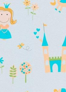 Dětské papírové tapety Lotta princezny tyrkysová