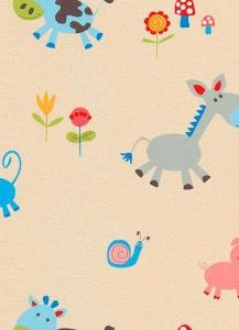 Dětské papírové tapety Lotta zvířátka modrá