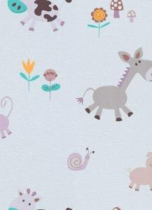Dětské papírové tapety Lotta zvířátka fialová