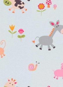 Dětské papírové tapety Lotta zvířátka růžová