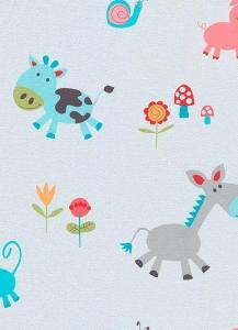 Dětské papírové tapety Lotta zvířátka tyrkysová