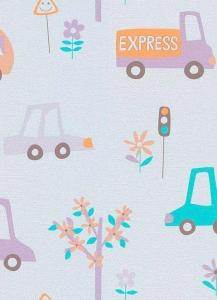 Dětské papírové tapety Lotta autíčka fialová
