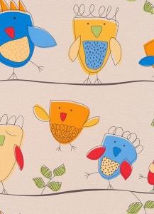 Dětské papírové tapety Lotta ptáčci modrá
