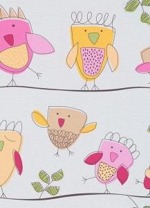 Dětské papírové tapety Lotta ptáčci růžová