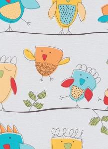 Dětské papírové tapety Lotta ptáčci tyrkysová