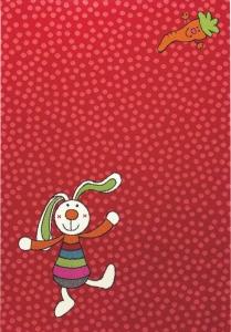 Dětský koberec Duhový králíček červená