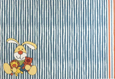 Dětské koberce Zajíček proužek modrá
