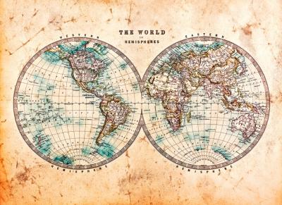 Fototapeta Vlies Livingwalls Hemispheres2 - Stará mapa