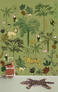 Dětská fototapeta Bambino XVIII Zvířátka v džungli zelená
