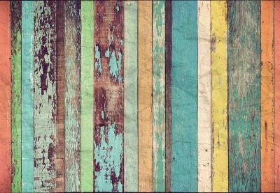 Fototapeta vlies Stará barevná prkna