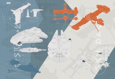 Fototapeta Star Wars - Hvězdné války, technické plány