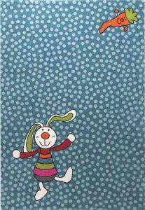 Dětský koberec Duhový králíček modrá