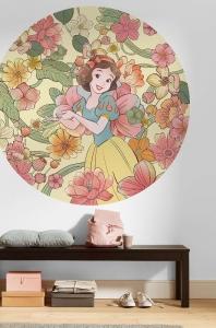 Samolepící fototapeta kruh - Disney Sněhurka a květiny