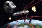 Fototapety Star Wars Loď Falcon Millennium a Hvězda smrti