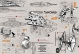 Fototapeta Star Wars - Hvězdné války,  plány X-Wing Fighter, Millennium Falcon, BB-8 a Speederu