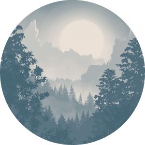 Samolepící fototapeta kruh - History of Arts - Modré údolí