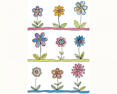 Samolepící tapety dětské květy zelená