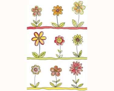 Samolepící tapety dětské květy oranžová