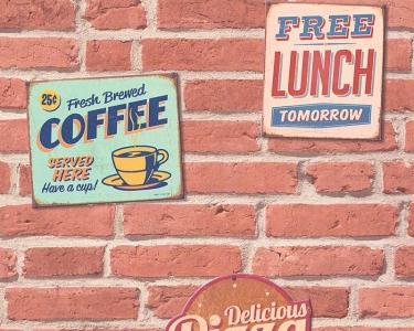 Tapety na zeď Koktejl Cihla červená reklamní tabule