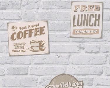 Tapety na zeď Koktejl Cihla bílá reklamní cedule