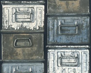 Tapety na stěnu Kolem světa - plechové krabice modrá
